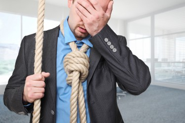 man going to suicide in his office